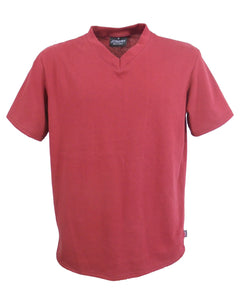 Men's Vee Neck T-Shirt Burgundy, made in England