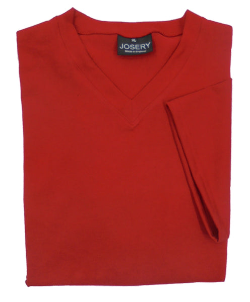 Red Vee Neck T-Shirt, Made in England