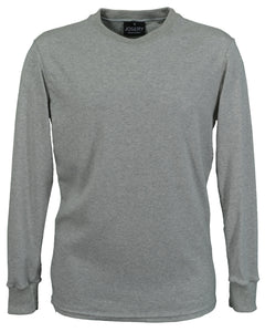Grey Marl long sleeve interlock T-Shirt, British Made