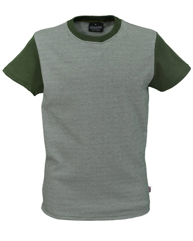 Olive green & white fine stripe interlock T-Shirt, with olive sleeves, made in UK