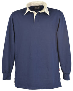 Navy blue rugby shirt, made in England.