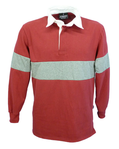 J791 Rugby Shirt - Light Burgundy with Grey Marl band