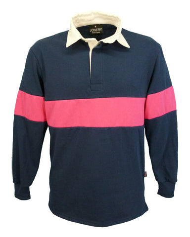 J791 Rugby Shirt - Navy with Fuschia stripe