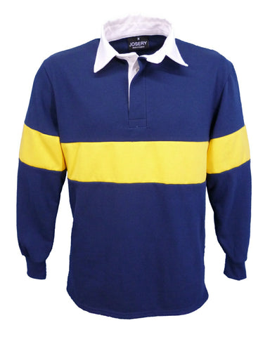 J791 Josery Athletic Rugby Shirt - Navy with Yellow stripe
