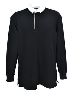 Black slim fit rugby shirt, men's sizes, made in England