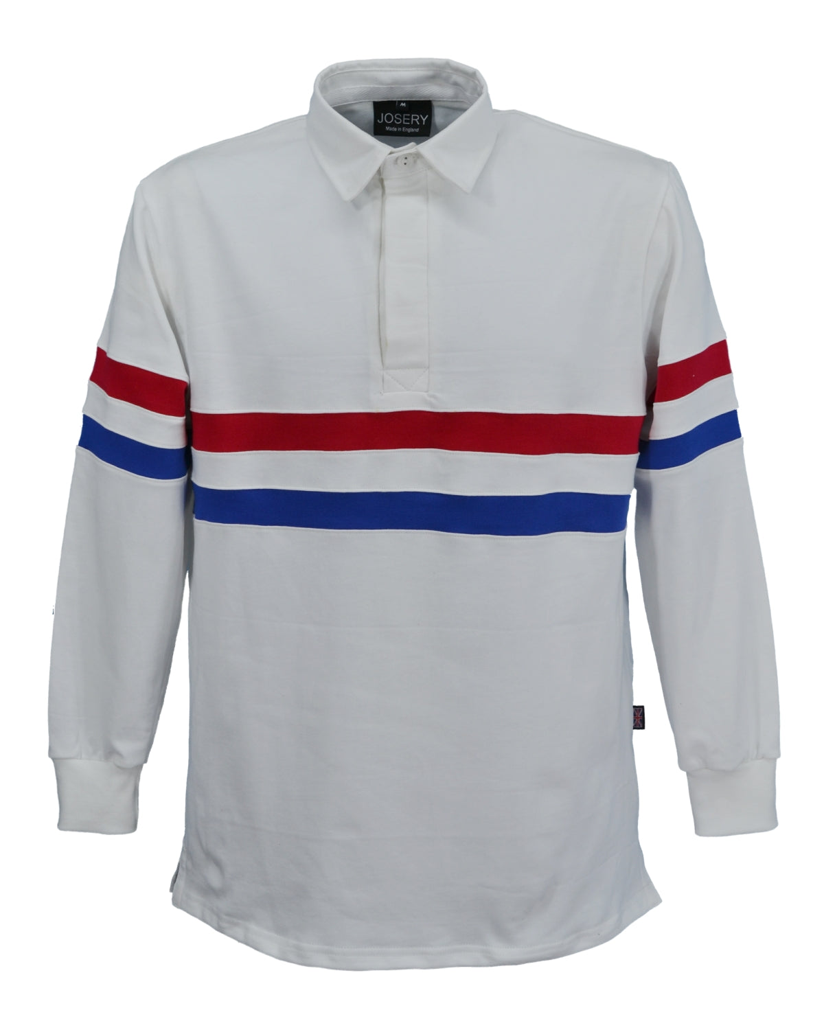 Rugby shirt with red, white and blue stripes, made in England.