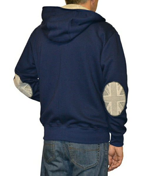 Men's zip hoodie in navy with Union flag sleeve patches