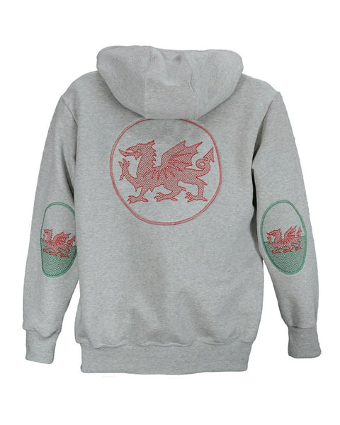 Welsh design hooded sweatshirt, with Welsh flag sleeve patches and embroidered dragon on back