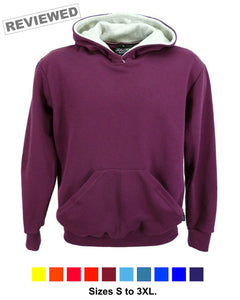 Men's burgundy hoodie made in England.