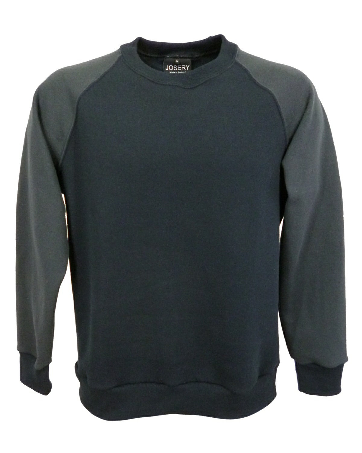 Black and dark grey contrast sleeve raglan sweatshirt.