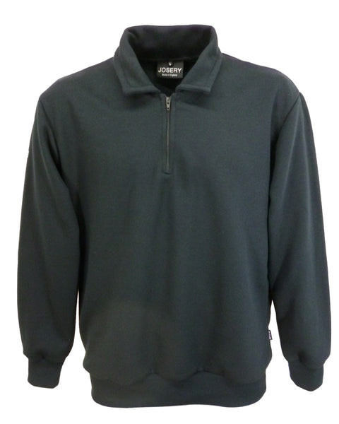 Black zip neck sweatshirt with collar, made in England
