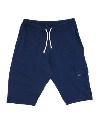 Men's knee length shorts, navy blue, made in UK