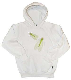 Girls hoodie with embroidered lacewing design.