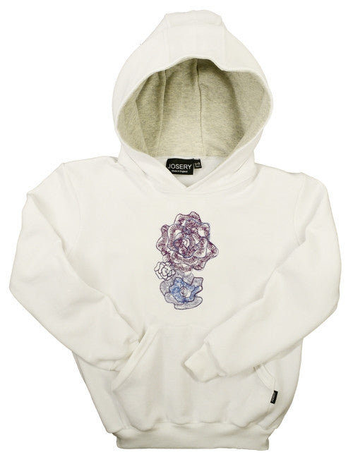 Girls hoodie with embroidered flower petal design
