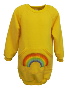 Girls yellow sweatshirt with rainbow embroidery, made in England