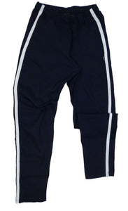 Navy track trousers with white stripe, Made in England