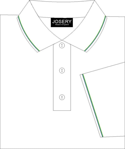 Men's Polo Shirt with Jade and Royal striped trims