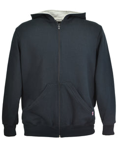Men's black zip hoodie, made in England.