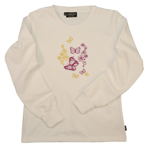 J302 Women's Long Sleeve T-Shirt With Detailed Embroidered Butterflies Design 22J/02