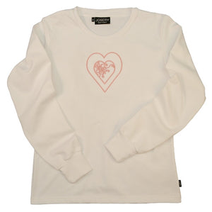 Ladies long sleeve T-Shirt with embroidered heart design.