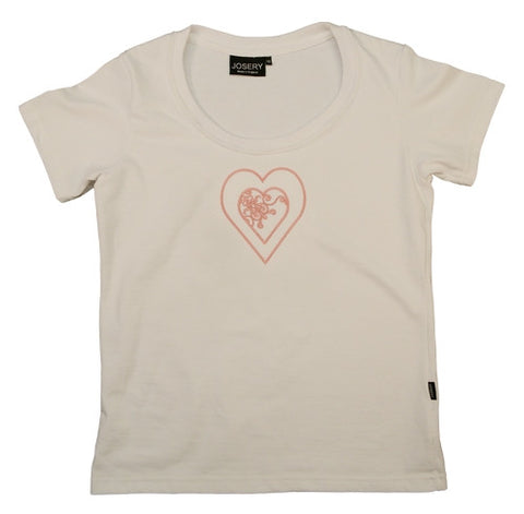 J303 Ladies Scoop Neck T-Shirt with Embroidered Pink Heart Design 22Q/08