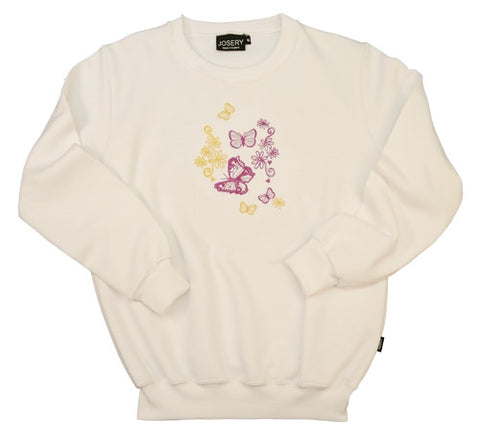 J905 Set in Sleeve Sweatshirt With Detailed Butterflies Embroidery Design 22J/02