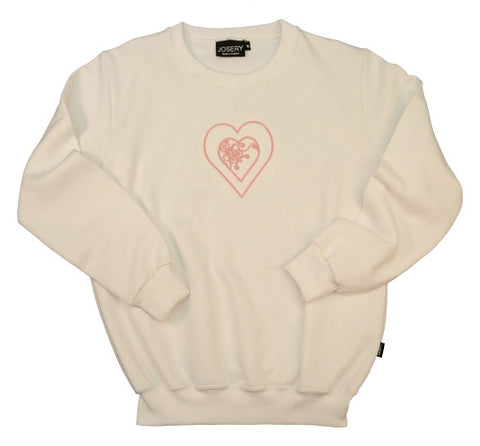 J905 Set in Sleeve Sweatshirt With Embroidered Pink Heart Design 22Q/08
