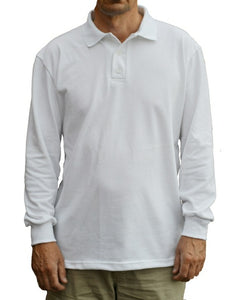 White, long sleeve polo shirt, made in England.