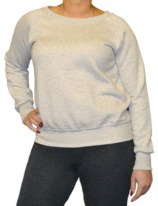 Ladies wide neckline sweatshirt with raglan sleeves in grey marl