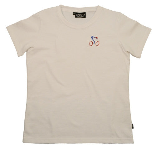 Women's white T-Shirt with embroidered cycling design