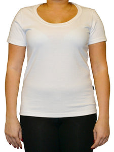 Women's T-Shirt with deep neckline in white