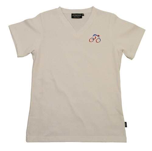 Ladies V-Neck T-Shirt with embroidered cycle design