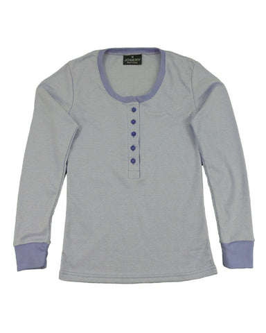 J335 Women's interlock long sleeve Henley top