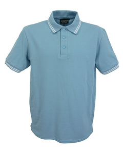 Light blue polo shirt with white trim, British Made