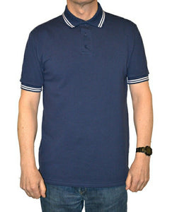 navy polo shirt with double white striped trim to collar, british made