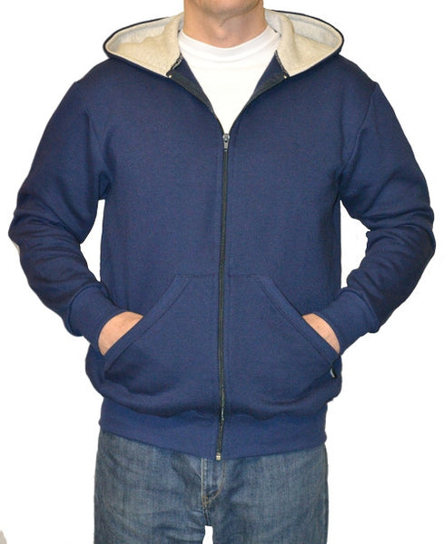 J801 Men's Zip Hoodie with monochrome Union design sleeve patches