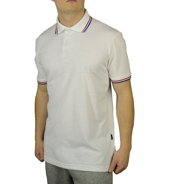 Red, White and Blue, classic colour combination polo shirt, made in England