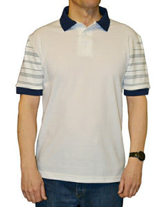 J506 Men's polo shirt with flat knitted striped pattern sleeve