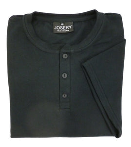 Men's Henley style T-Shirt in black, Made in UK