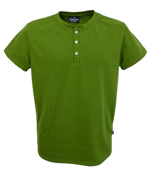 Henley top, men's, Olive Green, made in England