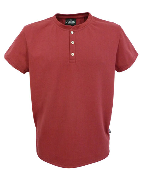 Henley style T-Shirt Light Burgundy, Made in England