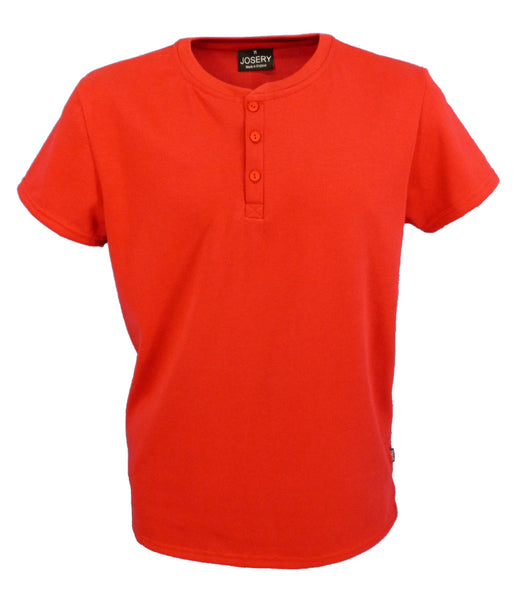 Men's Henley style T-Shirt in Red, Made in England