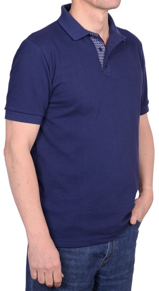 Men's navy polo shirt, 100% cotton, made in UK