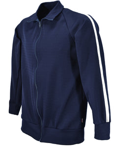 Men's tracksuit jacket, navy with white stripe, British Made