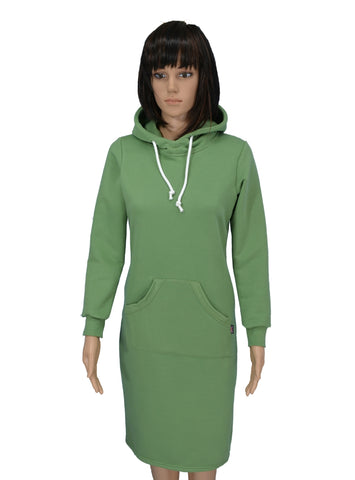 J307C Long sleeve, hooded jersey dress, Olive Green