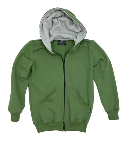 Olive zip hoodie, childs sizes, Made in England