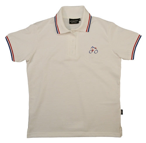 Women's polo shirt with embroidered cycle design.