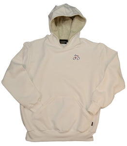white hoodie with cycling design made in England