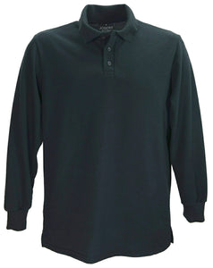 Black, long sleeve polo shirt, made in England.