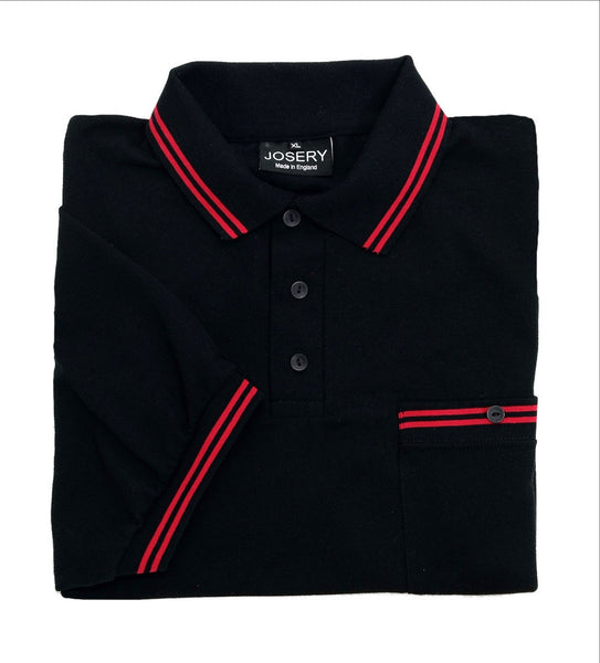 Black pocket polo shirt with red trim
